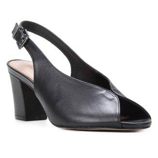 Peep Toe Couro Shoestock Salto Bloco Slingback