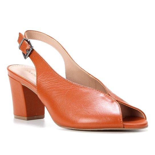 Peep Toe Couro Shoestock Salto Bloco Slingback - Caramelo