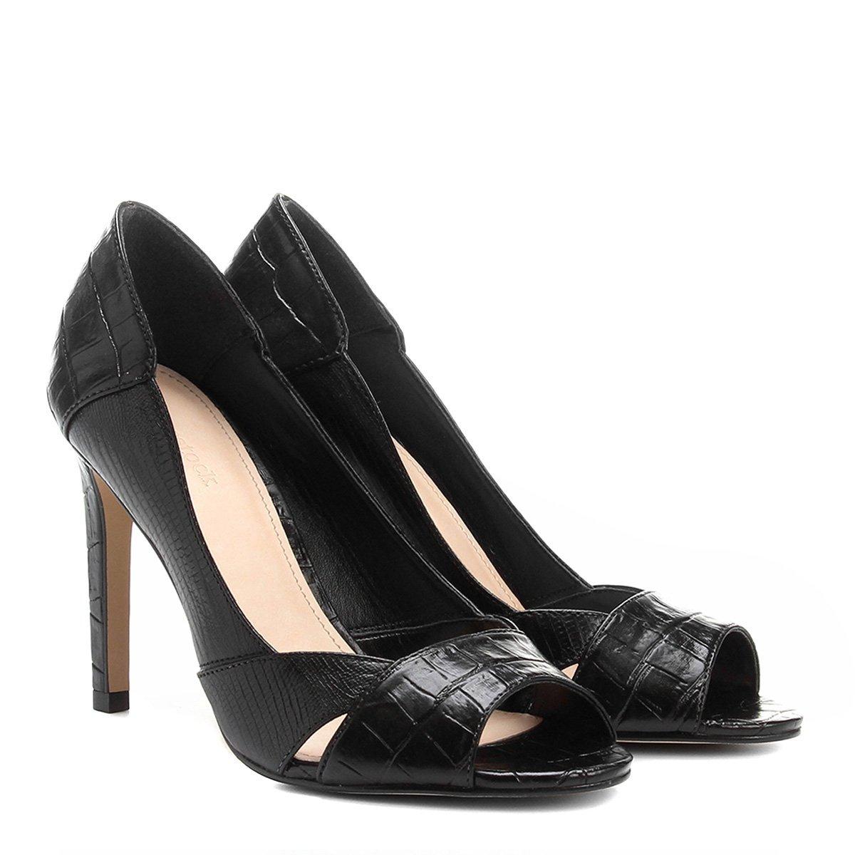 93c34e7758b23 Peep Toe Couro Shoestock Salto Fino Croco | Shoestock