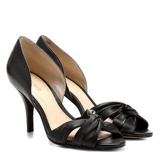 Peep Toe Couro Shoestock Salto Fino Gáspea