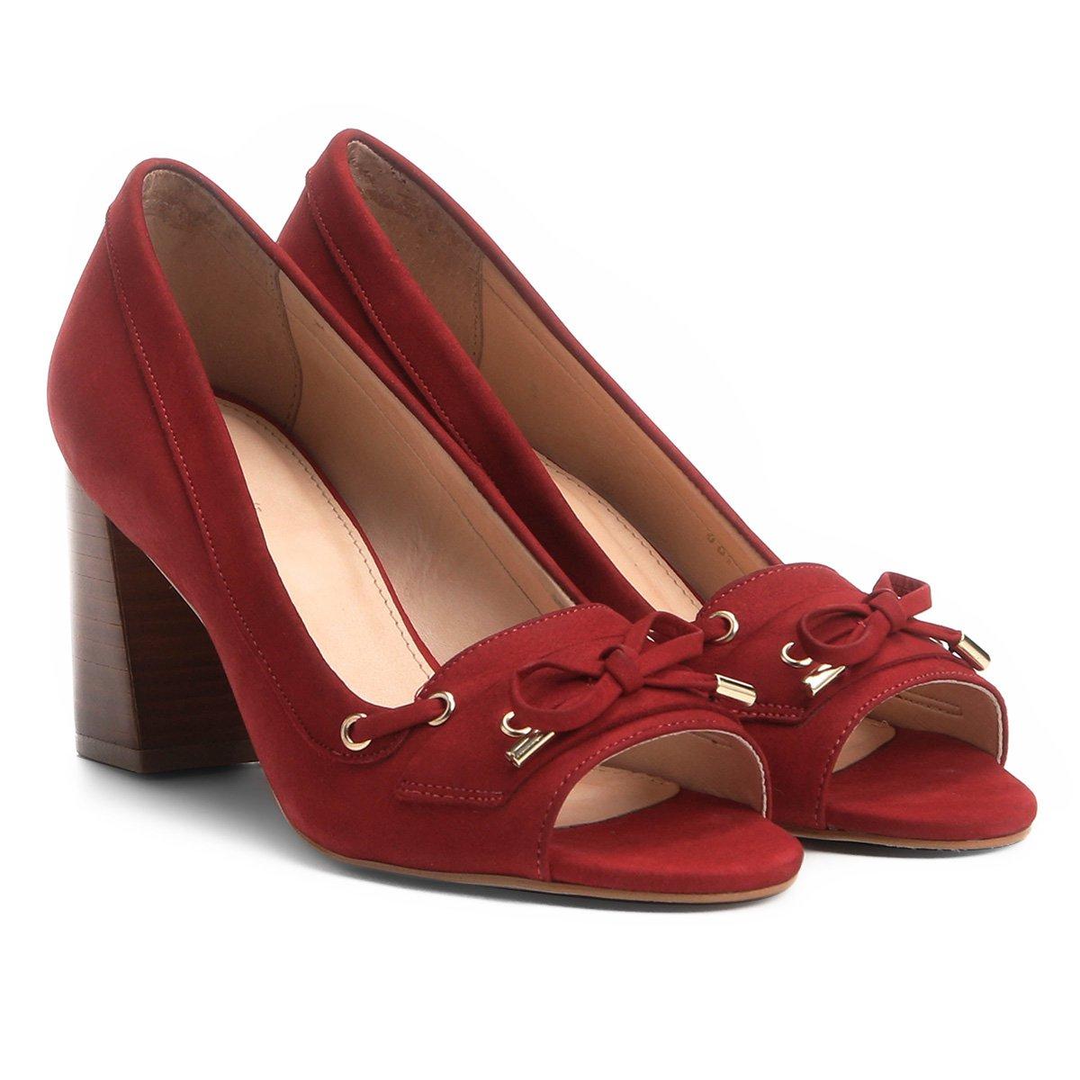 94bac4b7df Peep Toe Couro Shoestock Salto Grosso - Vermelho - Compre Agora ...