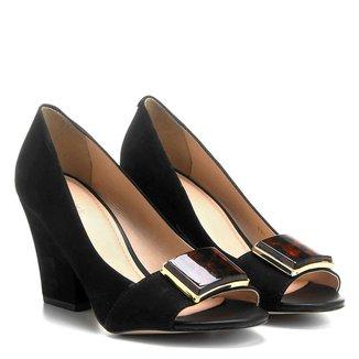 Peep Toe Couro Shoestock Salto Grosso Fivela Acrílico Onça