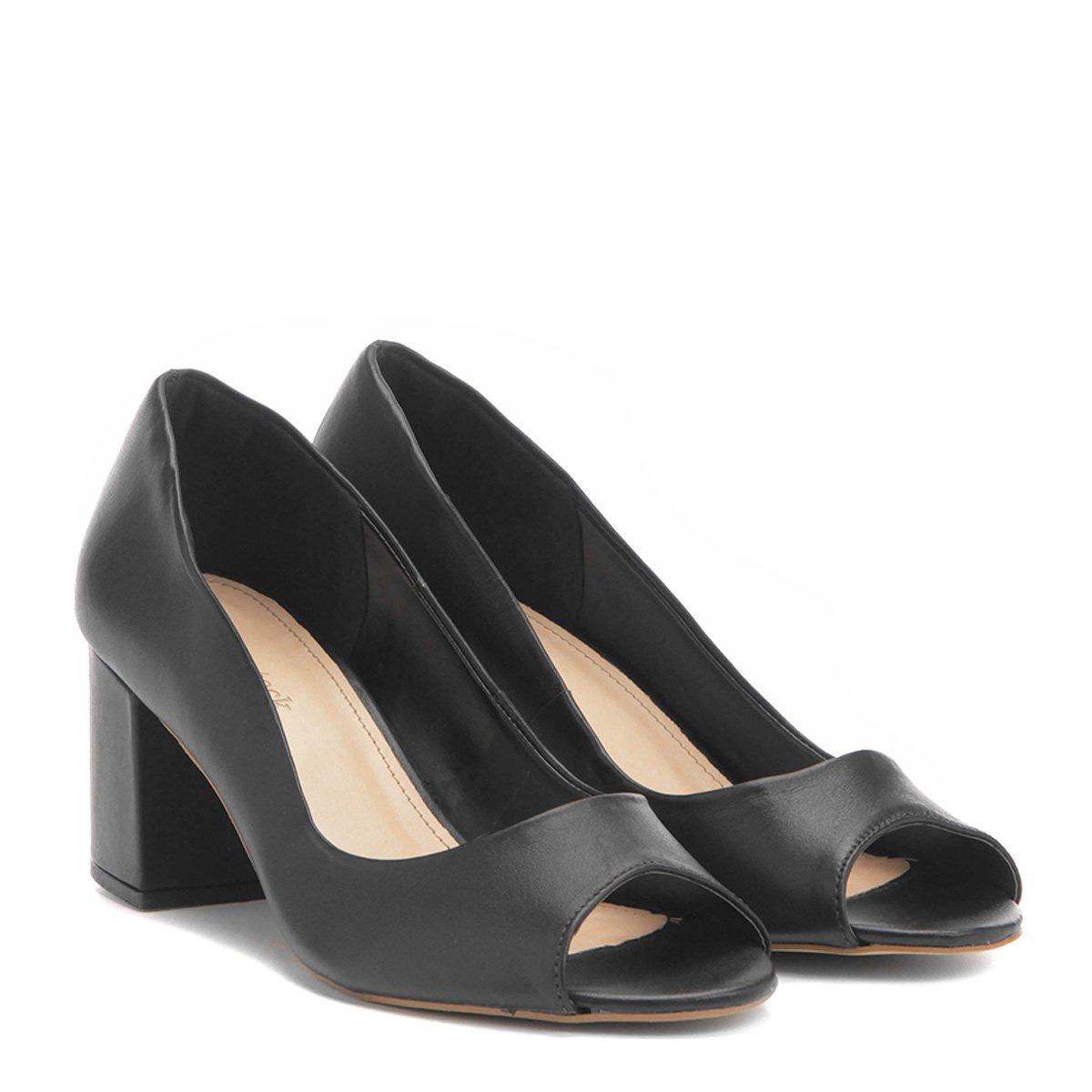 3c8e47799 Peep Toe Couro Shoestock Salto Grosso - Compre Agora