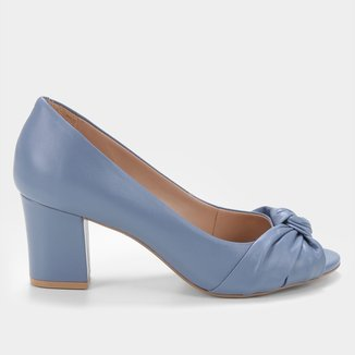 Peep Toe Couro Shoestock Salto Médio Bloco