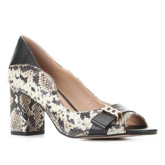 Peep Toe Couro Shoestock Salto Médio Cobra