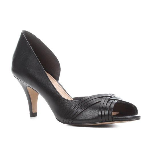 Peep Toe Couro Shoestock Salto Médio Tiras - Preto