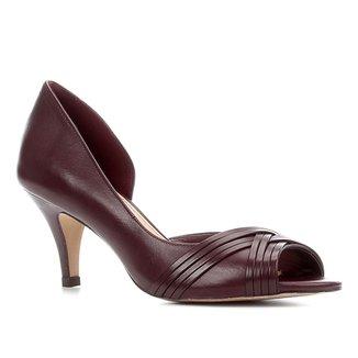 Peep Toe Couro Shoestock Salto Médio Tiras