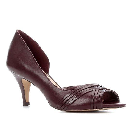 Peep Toe Couro Shoestock Salto Médio Tiras - Vinho