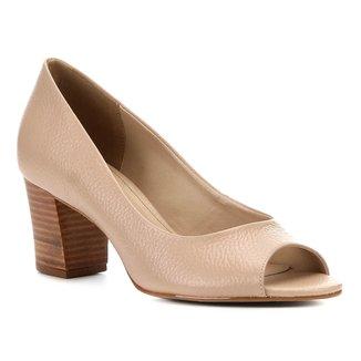 Peep Toe Couro Shoestock Salto Médio