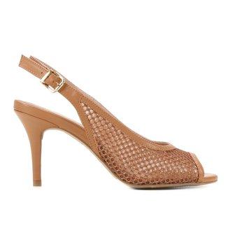 Peep Toe Couro Shoestock Slingback Tela Salto Médio