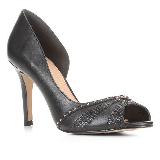 Peep Toe Couro Shoestock Tachas Salto Fino - Preto