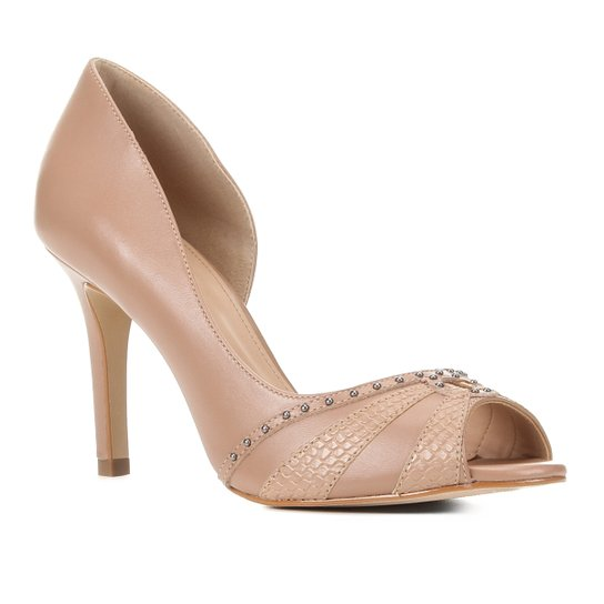 Peep Toe Couro Shoestock Tachas Salto Fino - Marrom