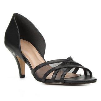 Peep Toe Couro Shoestock Tela Salto Médio