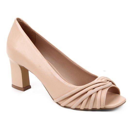 Peep Toe Couro Shoestock Tiras Rolete Salto Médio - Nude