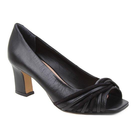 Peep Toe Couro Shoestock Tiras Rolete Salto Médio - Preto
