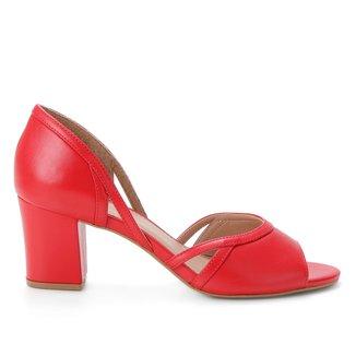 Peep Toe Couro Shoestock Tiras Salto Bloco Médio