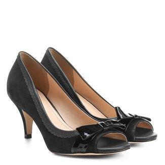 Peep Toe Couro Shoestock Tricolor