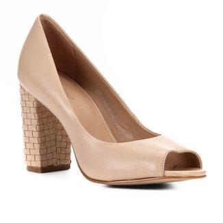 Peep Toe Shoestock Couro Salto Médio Bloco
