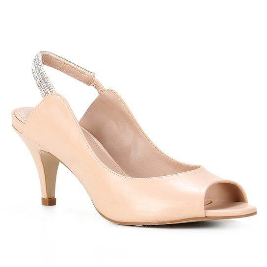 Peep Toe Shoestock Couro Slingback Salto Médio Strass - Nude