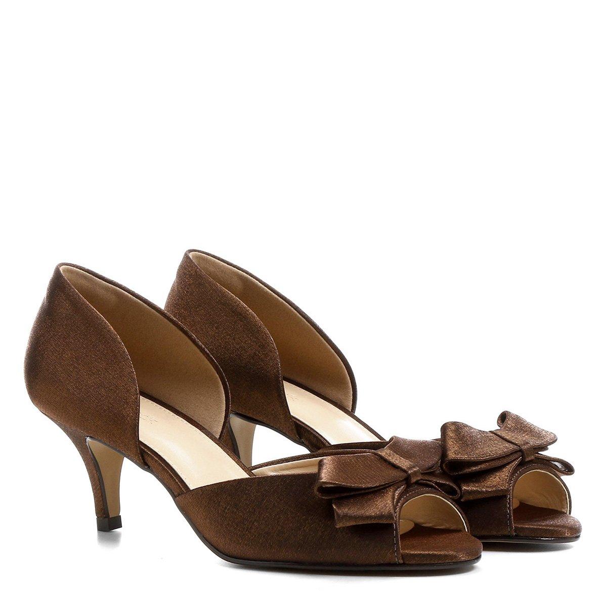 0e83b75093a0 Peep Toe Shoestock Festa Baixo Semi Cetim Laço - Cobre | Shoestock