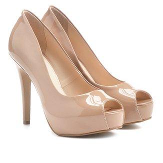 Peep Toe Shoestock Meia Pata Verniz