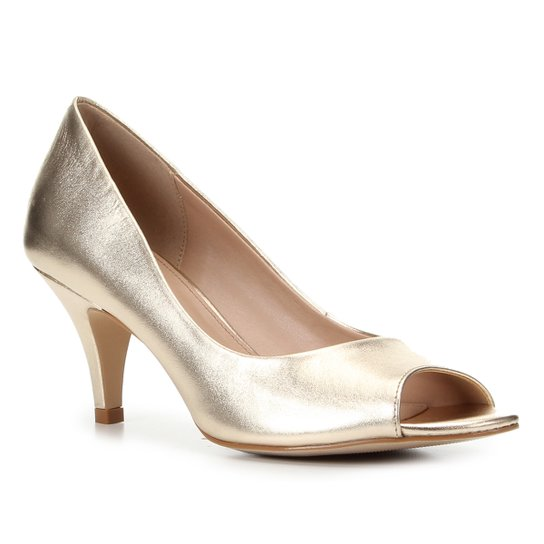 Peep Toe Shoestock Metalizado Salto Médio - Dourado