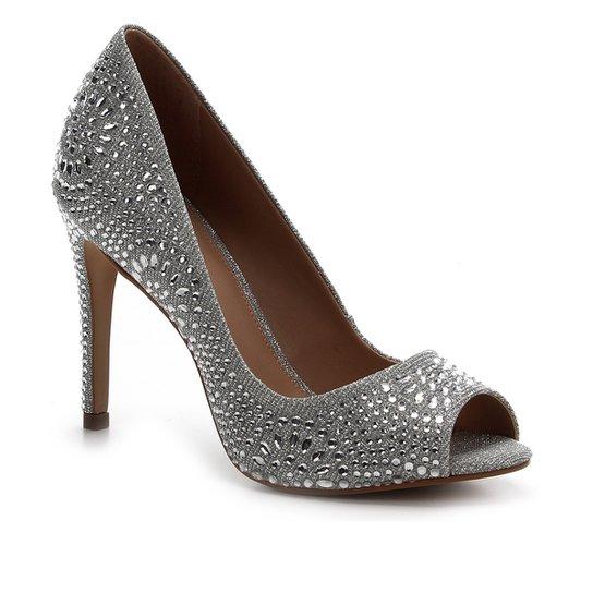Peep Toe Shoestock Noiva Lurex Cristais - Prata