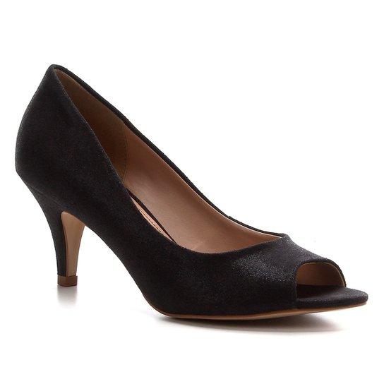Peep Toe Shoestock Noiva Tecido Cristais - Preto