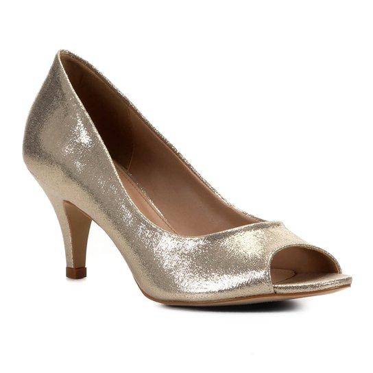 Peep Toe Shoestock Noiva Tecido Cristais - Dourado
