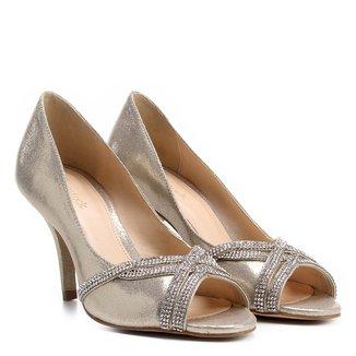 Peep Toe Shoestock Salto Fino Strass