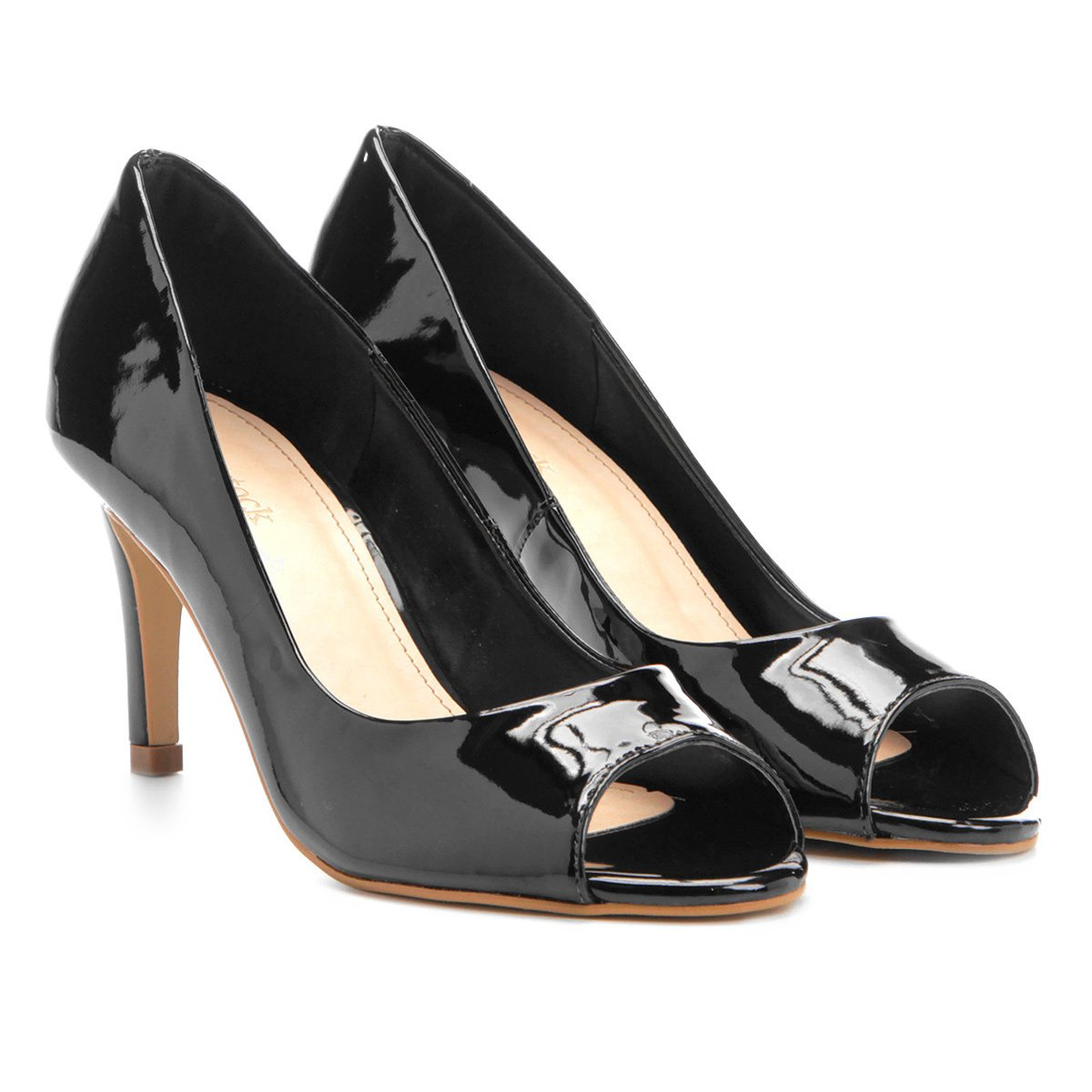 d83830280 Peep Toe Shoestock Salto Fino - Preto - Compre Agora