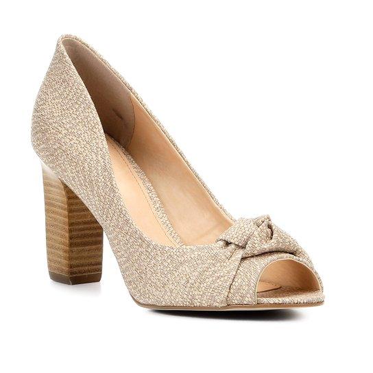 Peep Toe Shoestock Salto Grosso Nó - Nude