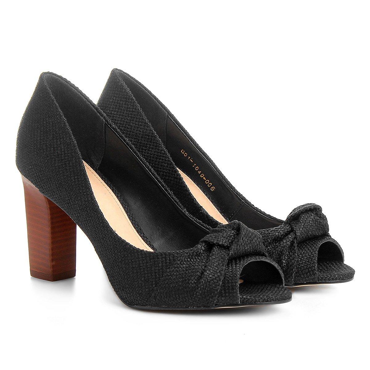 9e69638b6 Peep Toe Shoestock Salto Grosso Nó - Compre Agora