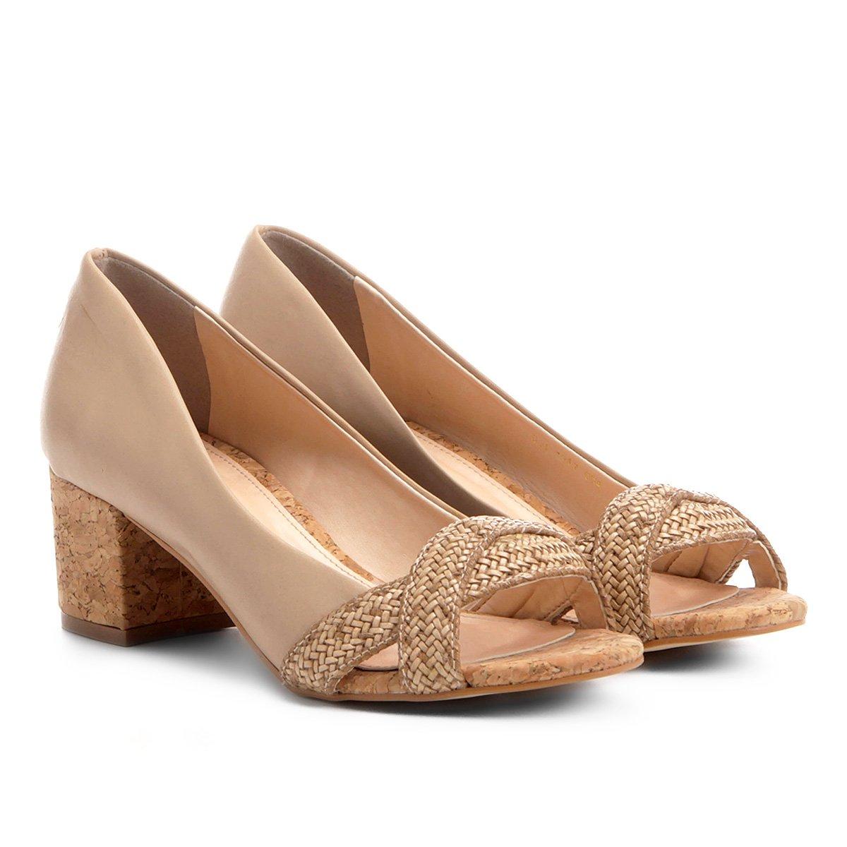 a85b55abf4 Peep Toe Shoestock Salto Grosso Trança