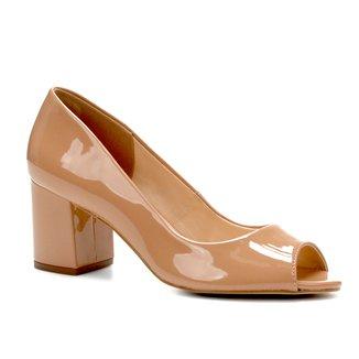 Peep Toe Shoestock Salto Grosso Verniz