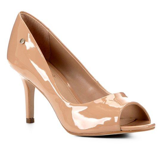 Peep Toe Shoestock Salto Médio Verniz Naked - Noz