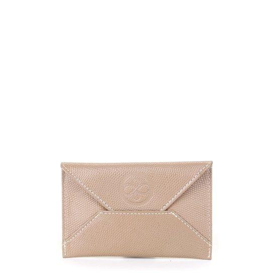 Porta Cartão Couro Shoestock Mini Feminino - Bege