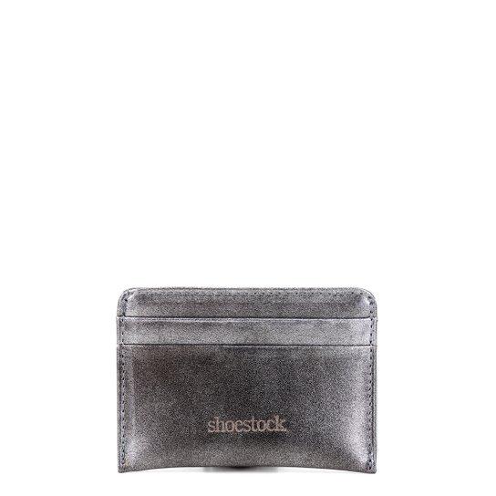 Porta Cartão Couro Shoestock Mini Feminino - Prata