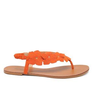 Rasteira Couro Shoestock Camurça Flores