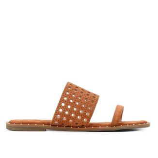 Rasteira Couro Shoestock Camurça Vazada