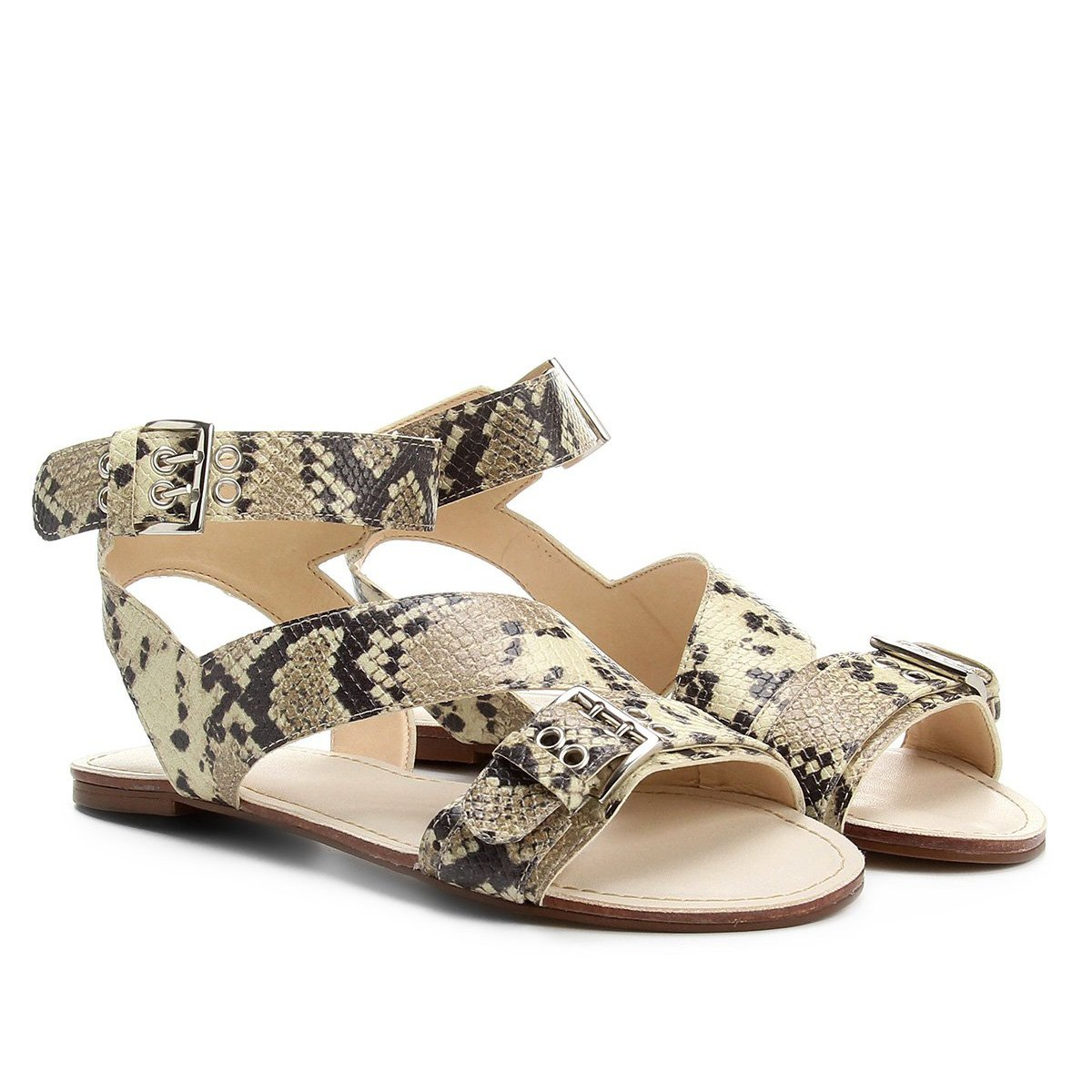 c36190682 Rasteira Couro Shoestock Croco Fivelas - Cobra | Shoestock