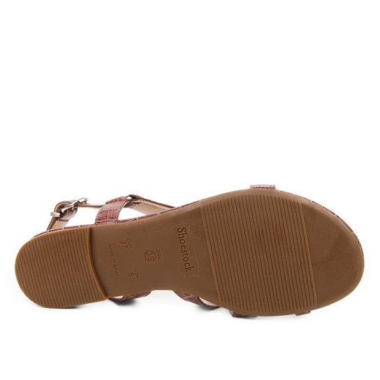 Rasteira Couro Shoestock Croco Tiras Dedo - Café