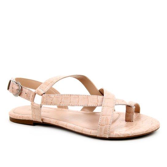 Rasteira Couro Shoestock Croco Tiras Dedo - Nude
