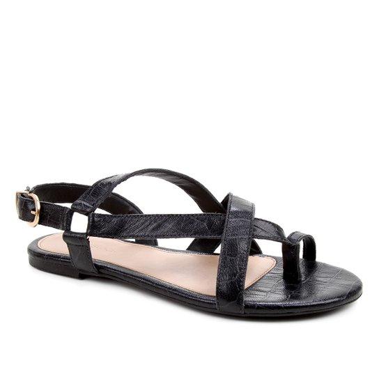 Rasteira Couro Shoestock Croco Tiras Dedo - Preto