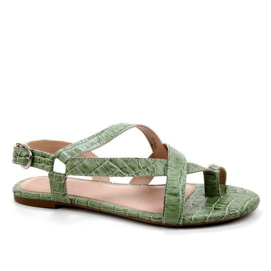 Rasteira Couro Shoestock Croco Tiras Dedo - Verde Militar