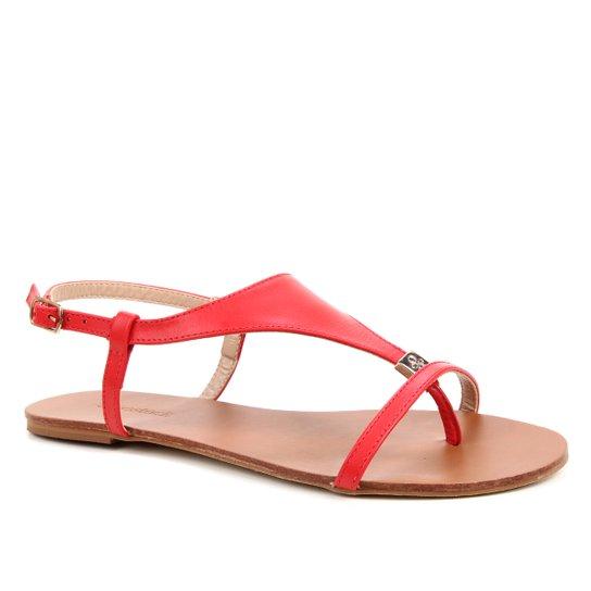 Rasteira Couro Shoestock Detalhe Metal - Vermelho