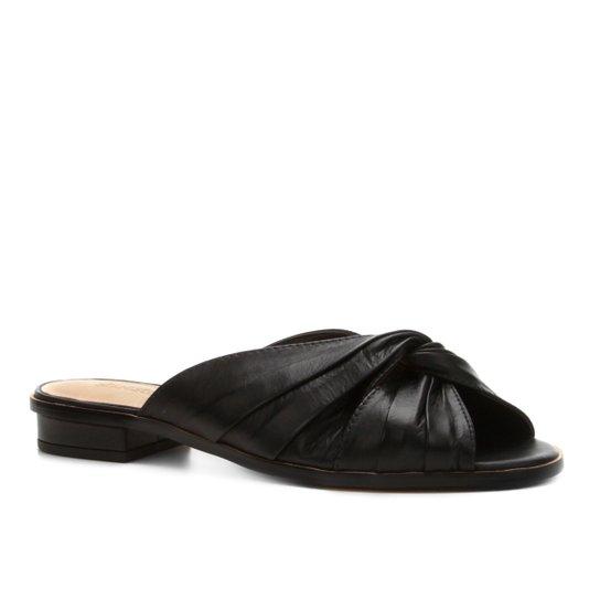 Rasteira Couro Shoestock Drapeada - Preto