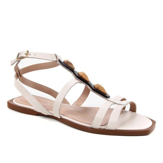 Rasteira Couro Shoestock Enfeite Madre Pérola - Off White