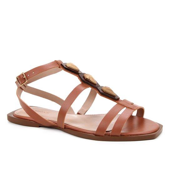 Rasteira Couro Shoestock Enfeite Madre Pérola - Marrom