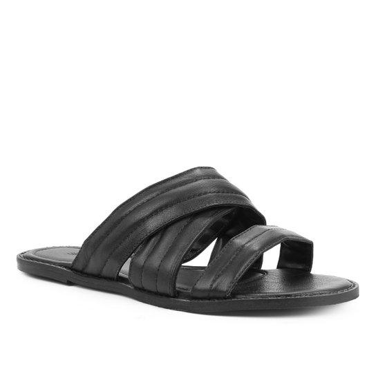 Rasteira Couro Shoestock Flat Soft - Preto